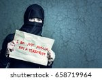 muslim girl in black hijab... | Shutterstock . vector #658719964