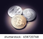 bitcoin  ethereum and litecoin... | Shutterstock . vector #658720768