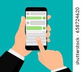 social network concept. hand... | Shutterstock .eps vector #658724620