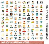 100 social opinion icons set in ... | Shutterstock . vector #658726789