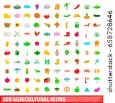 100 agricultural icons set in... | Shutterstock . vector #658728646