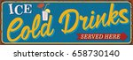 vintage cold drinks metal sign. | Shutterstock .eps vector #658730140