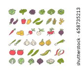 vegetables hand drawn icon set... | Shutterstock .eps vector #658735213