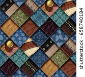 leather and jeans patchwork... | Shutterstock . vector #658740184