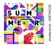 trendy vector holiday summer... | Shutterstock .eps vector #658744228