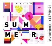 trendy vector holiday summer... | Shutterstock .eps vector #658748434