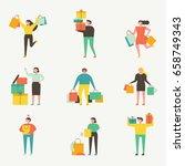 shopping people vector... | Shutterstock .eps vector #658749343