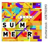 trendy vector holiday summer... | Shutterstock .eps vector #658750393