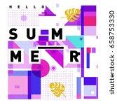 trendy vector holiday summer... | Shutterstock .eps vector #658753330