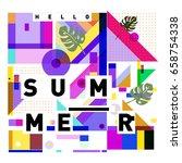 trendy vector holiday summer... | Shutterstock .eps vector #658754338