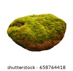 large stone covered with green... | Shutterstock . vector #658764418