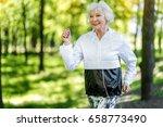 jolly senior woman enjoying... | Shutterstock . vector #658773490