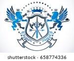 heraldic sign created using... | Shutterstock .eps vector #658774336