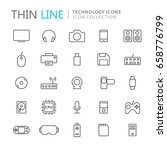 collection of technology thin... | Shutterstock .eps vector #658776799