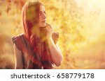 dreaming girl beautiful young... | Shutterstock . vector #658779178