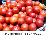 high quality red tomatoes are... | Shutterstock . vector #658779220