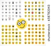 smiling cartoon face positive... | Shutterstock .eps vector #658782043