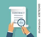 contract in hands. holding...   Shutterstock .eps vector #658782400