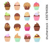 delicious cupcakes and muffins... | Shutterstock .eps vector #658784086