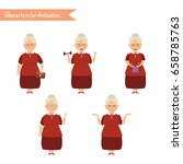 grandmother housewife character ... | Shutterstock .eps vector #658785763