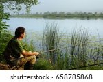 fisherman on a coast of river  ... | Shutterstock . vector #658785868