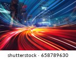 motion speed effect with city... | Shutterstock . vector #658789630