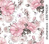 seamless pattern with pink... | Shutterstock . vector #658790329