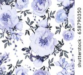 seamless pattern with blue... | Shutterstock . vector #658790350