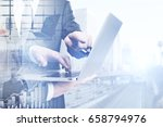 side view of businessmen using... | Shutterstock . vector #658794976