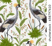 seamless pattern with crane... | Shutterstock .eps vector #658797610