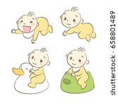 set of babies various poses and ... | Shutterstock .eps vector #658801489