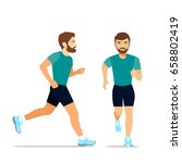 running man in profile  and the ... | Shutterstock .eps vector #658802419