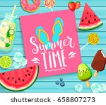 summer time  lettering  card on ... | Shutterstock .eps vector #658807273