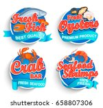 set of fresh seafood logo and... | Shutterstock .eps vector #658807306