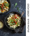 vegetarian pasta with quick... | Shutterstock . vector #658814263