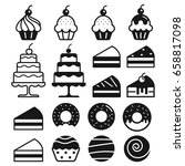 bakery cakes icons set. vector... | Shutterstock .eps vector #658817098