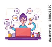 woman secretary or female... | Shutterstock . vector #658835530