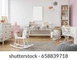 white poster mockup over crib... | Shutterstock . vector #658839718