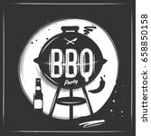 silhouette barbecue grill party ... | Shutterstock .eps vector #658850158