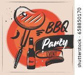 meat steak on the grill.... | Shutterstock .eps vector #658850170