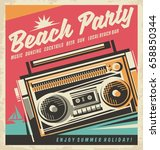 beach party retro poster design ... | Shutterstock .eps vector #658850344