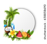 card with coconut cocktail ... | Shutterstock .eps vector #658858690