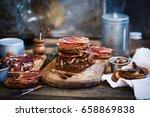 spanish lomo sandwich. spanish... | Shutterstock . vector #658869838