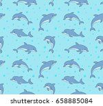 seamless pattern with happy...   Shutterstock .eps vector #658885084