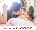 happy family having fun inside... | Shutterstock . vector #658888303