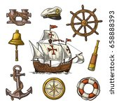 set sea adventure. anchor ... | Shutterstock .eps vector #658888393