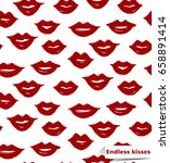 vector lips seamless pattern. ... | Shutterstock .eps vector #658891414