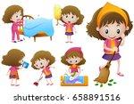 little girl doing different... | Shutterstock .eps vector #658891516
