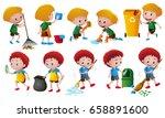boys doing different chores... | Shutterstock .eps vector #658891600
