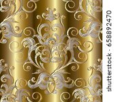 3d royal embroidery style gold...   Shutterstock .eps vector #658892470